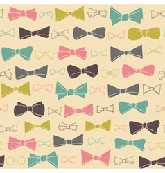 Cute seamless pattern of colored bows on a pastel vector image