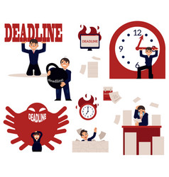 Deadline and time management concept elements set vector