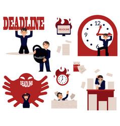 deadline and time management concept elements set vector image