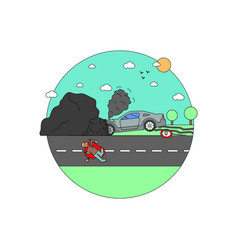 Disaster accident tragedy car collision crash vector