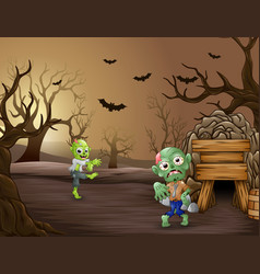 Disgusting spooky zombies in the dead forest vector