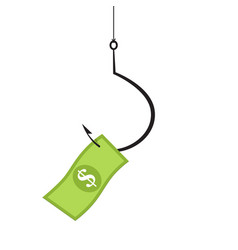 dollar banknote on the hook vector image