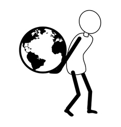Earth planet with human holding it vector image