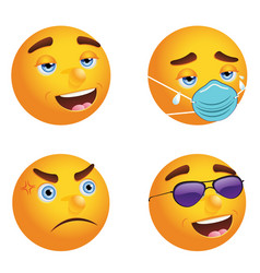Emoticon with face mask and without vector