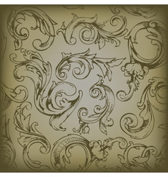 Engraved floral seamless pattern vector
