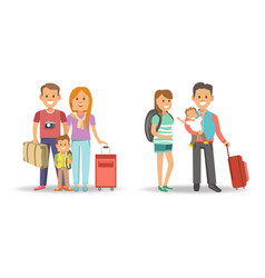 family with bags and suitcases ready for journey vector image
