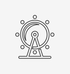 Ferris wheel icon attraction symbol line vector