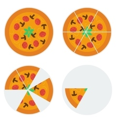 Four pizzas icons vector