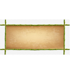 Frame of green bamboo sticks with vintage paper vector