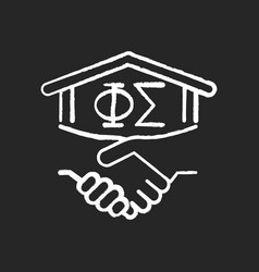 Fraternity chalk white icon on black background vector