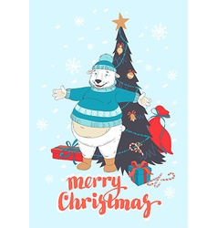 Funny Merry Christmas card with polar bear wearing vector image vector image