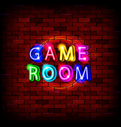 Game room neon sign vector
