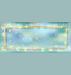 Garland and gold frame winter background vector