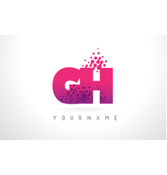 gh g h letter logo with pink purple color vector image
