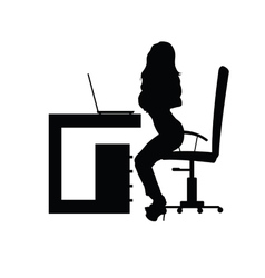 Girl sensual in office silhouette vector