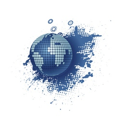 Globe with grunge vector