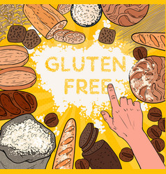 Gluten free background with flour breads pastries vector