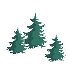 hand drawn christmas tree group isolated vector image