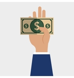 hand holding a bill vector image