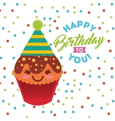 Happy birthday celebration card with cupcake vector