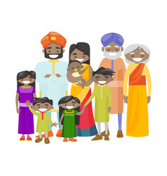 happy extended indian family with cheerful smile vector image