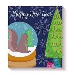 happy new year squirrel trees crystal ball snow vector image