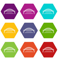 Harbour bridge icons set 9 vector