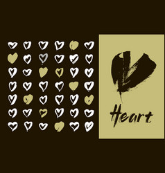 heart icons set hand drawn icons and vector image