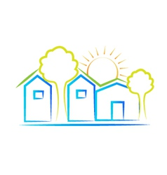 Houses tree and sun logo vector
