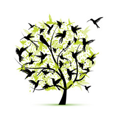 Hummingbird tree sketch for your design vector