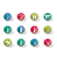 hunting and arms icons over colored background vector image