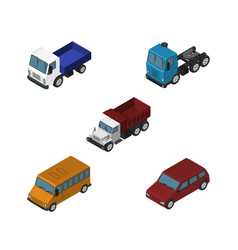 isometric transport set of car truck freight and vector image