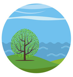 Landscape with a lonely tree vector