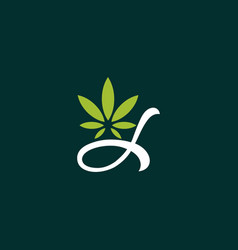 leaf cannabis naturally creative logo vector image