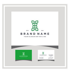 Letter bb leaf logo design and business card vector