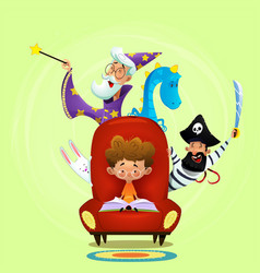 little boy read book sitting in chair vector image