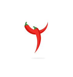 Logo red chili pepper letter y vector
