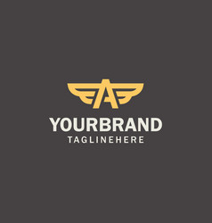 luxury letter logo brand logo with wings vector image