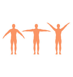 male silhouette with arms spread out in different vector image