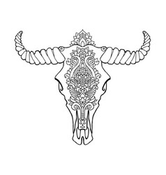 Mandala tattoo style dead cow head decorative vector
