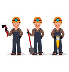 miner man mining worker cartoon character vector image