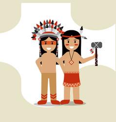 native american people cartoon vector image