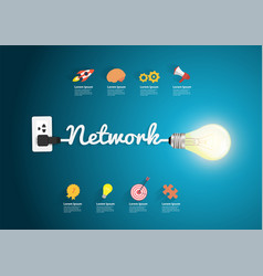network concept creative light bulb idea vector image