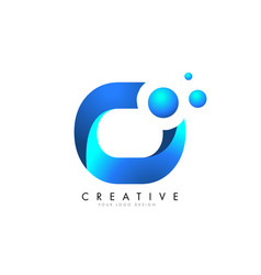 o letter logo design with 3d and ribbon effect vector image