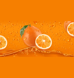 Orange drops fresh fruit background 3d realistic vector
