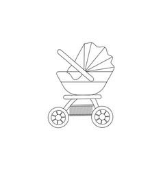 outline of pink baby stroller vector image