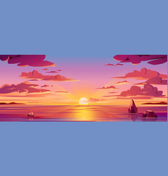 panorama sea sunset or ocean sunrisewater sky vector image