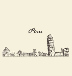 pisa skyline italy vintage hand drawn vector image