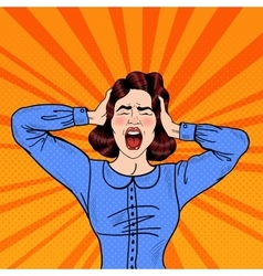 Pop Art Angry Frustrated Woman Screaming vector