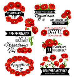 Poppy flower memorial wreath for remembrance day vector